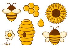 Bee set. Honey. Vector illustration. Bee set. Honey. Bees, sunflower, chamomile beehive honeycomb drop Vector illustration royalty free illustration