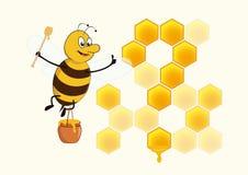 Bee shows good honey Royalty Free Stock Photos