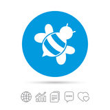 Bee sign icon. Honeybee or apis symbol. Royalty Free Stock Images