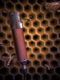 Bee Singing Into A Microphone - Digital Painting. Digital painting of a honey bees swarming around a boutique condenser microphone inside a beehive Royalty Free Stock Images