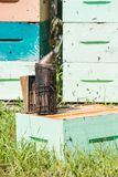 Bee Smoker At Apiary Stock Image