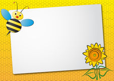 Bee and sunflower sheet Stock Photo
