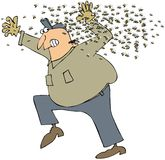 Bee Swarm. This illustration depicts a man running from a swarm of bees Stock Image