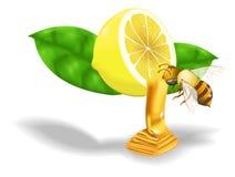 Bee swarm lemon honey. Bee swarm of flying a sweet honey lemon drops Stock Photo