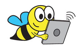 Bee and Tablet Stock Photo