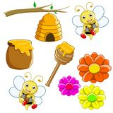 Bee templete. Illustration of honey bees and their nest and flowers Royalty Free Stock Photography