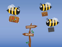 Bee with travel bag going on holiday and bees with briefcases fly on the work. Vector illustration Royalty Free Stock Images