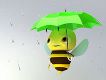 Bee under an umbrella. The bee under an umbrella Royalty Free Stock Photography