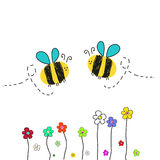 Bee vector with colofull flower illustration Royalty Free Stock Photo