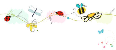 Bee vector with daisy flower. Spring pattern vector background Royalty Free Stock Photos