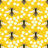 Bee hive vector seamless pattern vector illustration Royalty Free Stock Photos