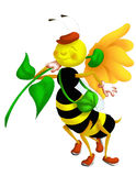 Bee walking. Color illustration of a smiling bee just returned from a collection of flowers Royalty Free Stock Images