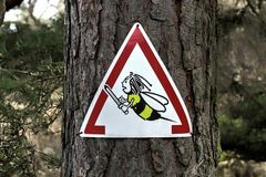 Bee warning sign Stock Image