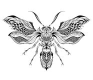 Bee / Wasp tattoo. psychedelic, zentangle style. Royalty Free Stock Image