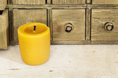 Bee wax candle Royalty Free Stock Photo