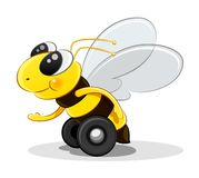 Bee on wheels. Character royalty free illustration