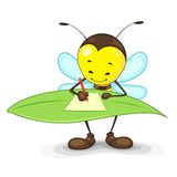 Bee Writing on Leaf. Editable vector bee writing on a leaf Royalty Free Stock Images