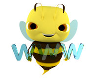 Bee WWW. The bee holds an Internet sign www stock illustration