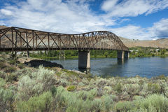 """Beebe Bridge on the Columbia River. Located three miles east of Lake Chelan, the bridge is part of U.S. Route 97. It is one of three """"Continuous-steel stock photo"""