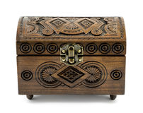 Beech wood carved casket handmade isolated Royalty Free Stock Images