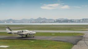 Beechcraft Baron B55. Taxiing on the runway in Rio de Janeiro, Brazil royalty free stock images