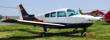 Beechcraft C23 Sundowner with German D-EIPC markings. Beechcraft C23 Sundowner aircraft. One of the most popular aircraft of choice for flying schools and many Royalty Free Stock Photo