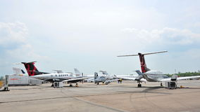 Beechcraft King Air 250 and 350ER, and other commercial jets on dispaly at Singapore Airshow Royalty Free Stock Photo
