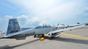 Beechcraft AT-6 Texan II light attack single turboprop plane on display at Singapore Airshow Royalty Free Stock Photos
