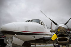 Beechcraft Twin Engine Airplane With Stormy Sky Stock Image
