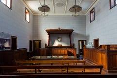 Beechworth Court House room in Beechworth in north eastern Victoria. Beechworth, Australia - April 30, 2018: Court room in the Beechworth Court House, built in stock photography