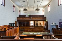 Beechworth Court House room in Beechworth in north eastern Victoria. Beechworth, Australia - April 30, 2018: Court room in the Beechworth Court House, built in royalty free stock photography