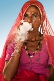 Beedi smoker lady Stock Photography