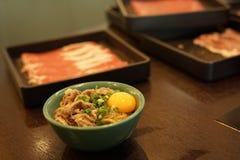 BeefSukiyakiRamen鸡蛋 免版税库存照片
