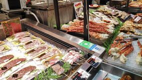 Beef And Seafood For Sale In The Kuromon Market In Osaka Japan Stock Images