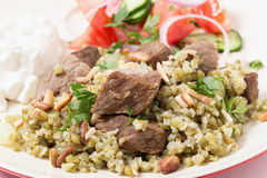 Beef with Arab frikeh closeup Royalty Free Stock Photography
