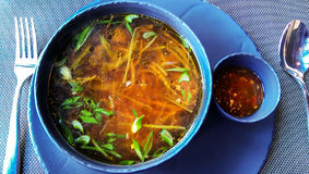 Beef asian soup with ginger Stock Photo