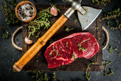 Beef with ax, thyme and spices Royalty Free Stock Photography