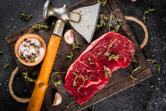 Beef with ax, thyme and spices Stock Photo