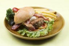 Beef bacon hamburger Royalty Free Stock Photos
