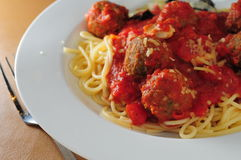 Beef ball spaghetti Stock Images