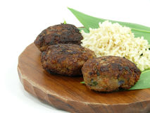 Beef balls and fresh wildgarlic Royalty Free Stock Photography