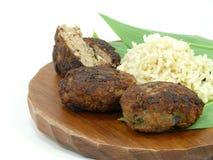 Beef balls and fresh wildgarlic Stock Image