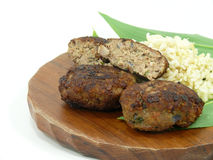 Beef balls and fresh wildgarlic Stock Images