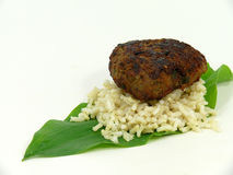 Beef balls and fresh wildgarlic Royalty Free Stock Images