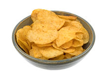 Beef barbecue flavor potato chips in an old bowl Stock Image