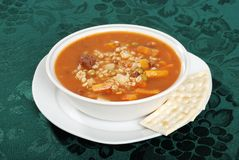 Beef barley soup with crackers Stock Photos