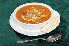 Beef barley soup with a spoon Stock Photography