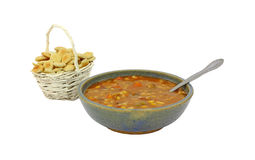 Beef Barley Soup Spoon & Crackers Royalty Free Stock Images
