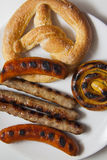 Beef bavarian sausages of different types Stock Image