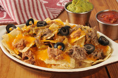 Beef, bean and cheese nachos Royalty Free Stock Photography
